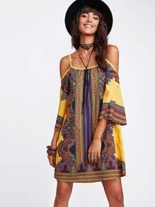 Tribal Print Cold Shoulder Dress