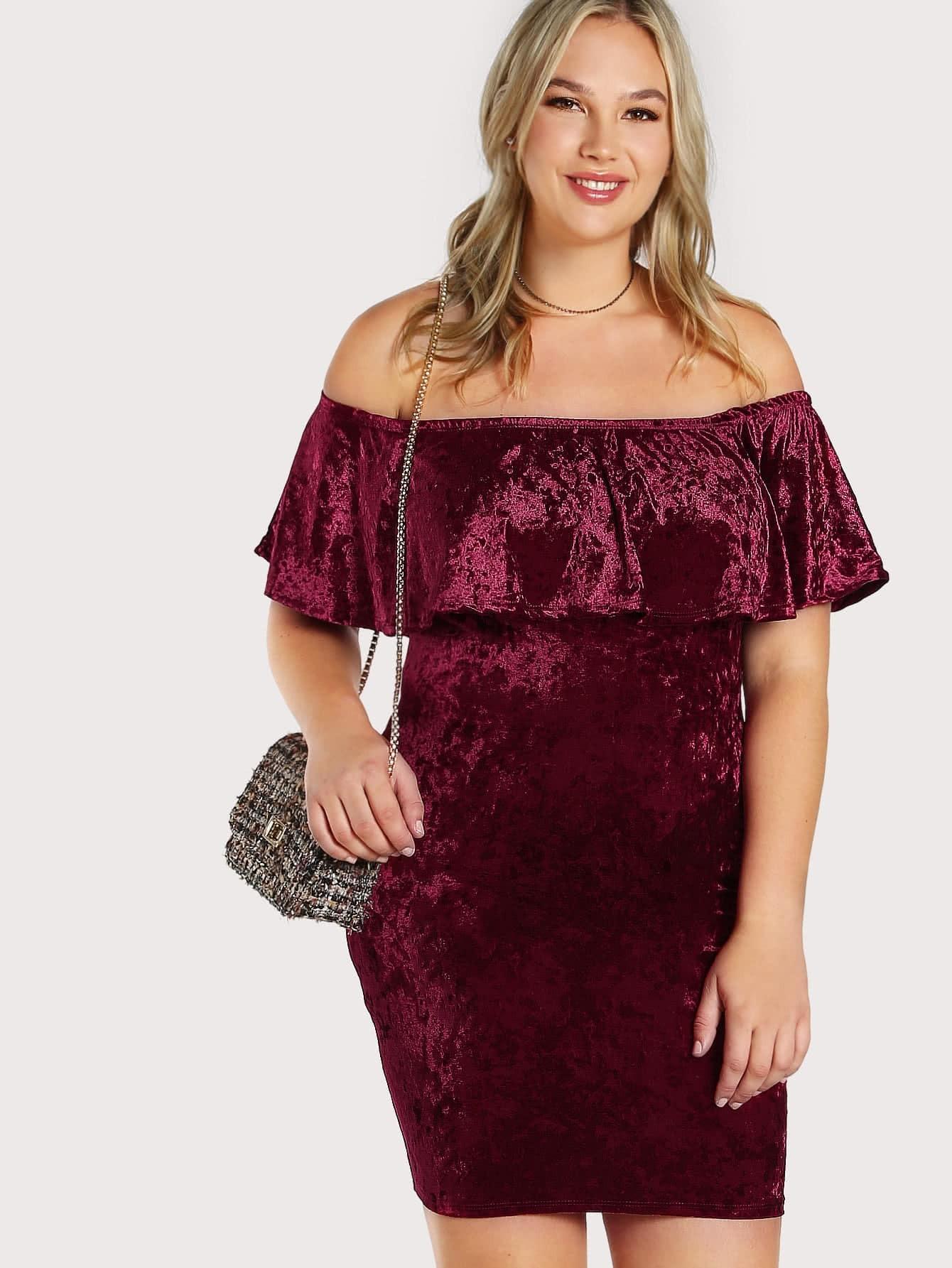 все цены на Crushed Velvet Off Shoulder Flounce Dress