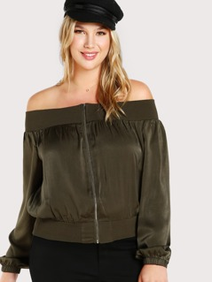 Off Shoulder Satin Zip Up Jacket OLIVE