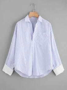 Contrast Cuff Splatter Print Striped Shirt