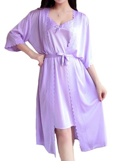 Satin Scallop Edge Slip Dress With Robe