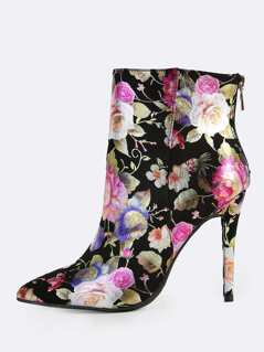 Metallic Floral Print Stiletto Boots BLACK