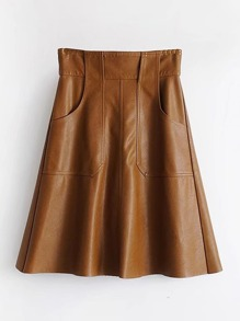 Front Pocket PU Flare Skirt