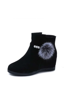 Suede Faux Fur Ball Decorated Hidden Wedge Boots