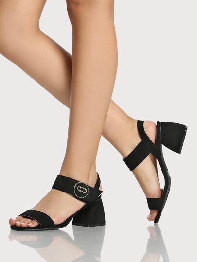Single Band Ankle Strap Flats BLACK