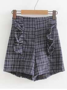 Ruffle Detail High Waist Plaid Shorts