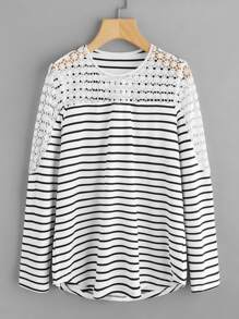 Hollow Lace Panel Striped Tee