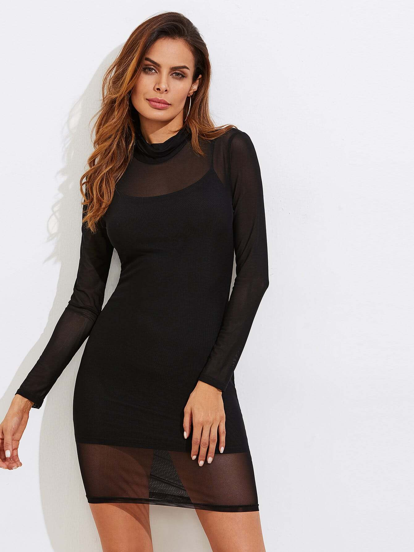 romwe fashions,Sheer Mesh Bodycon Dress With Rib Cami Dress