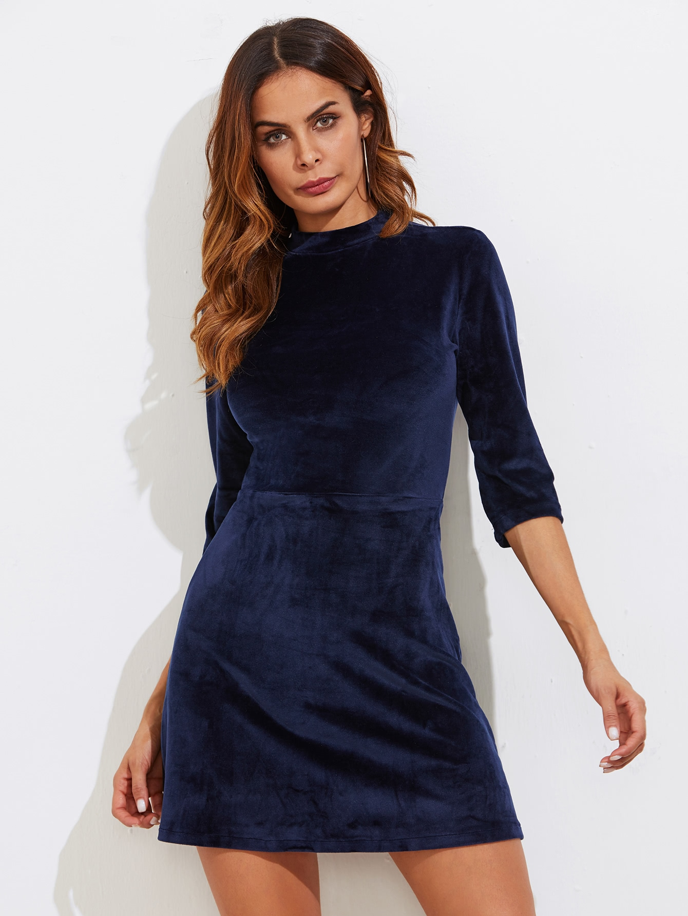 Three Quarter Sleeve Velvet Dress