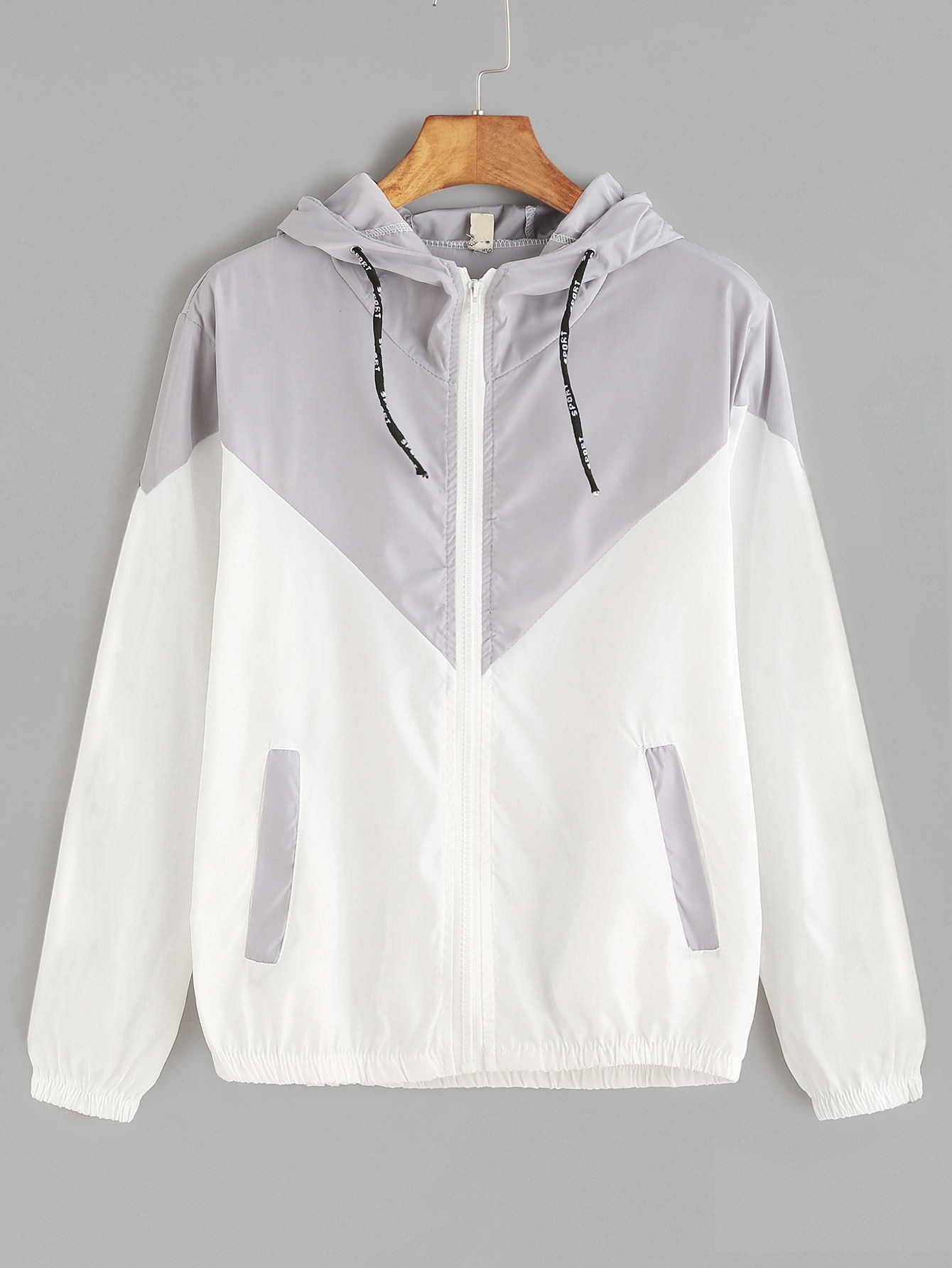 Contrast Zip Up Drawstring Hooded Jacket champion hooded jacket