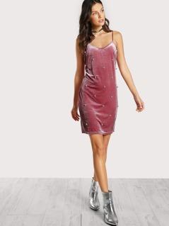 Pearl Beading Velvet Cami Dress