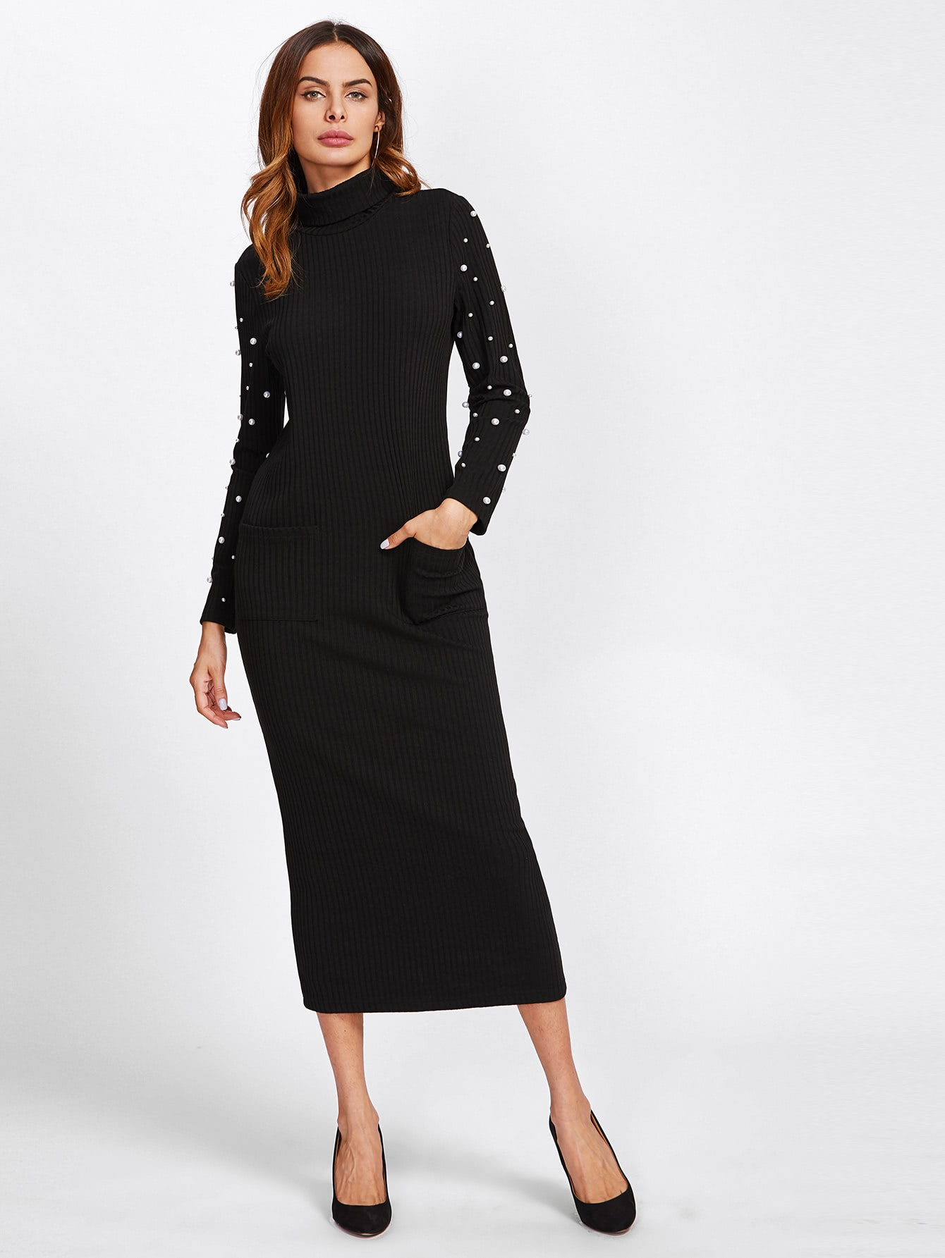 Turtle Neck Pearl Detail Ribbed Pencil Dress pearl detail layered bell sleeve ribbed top