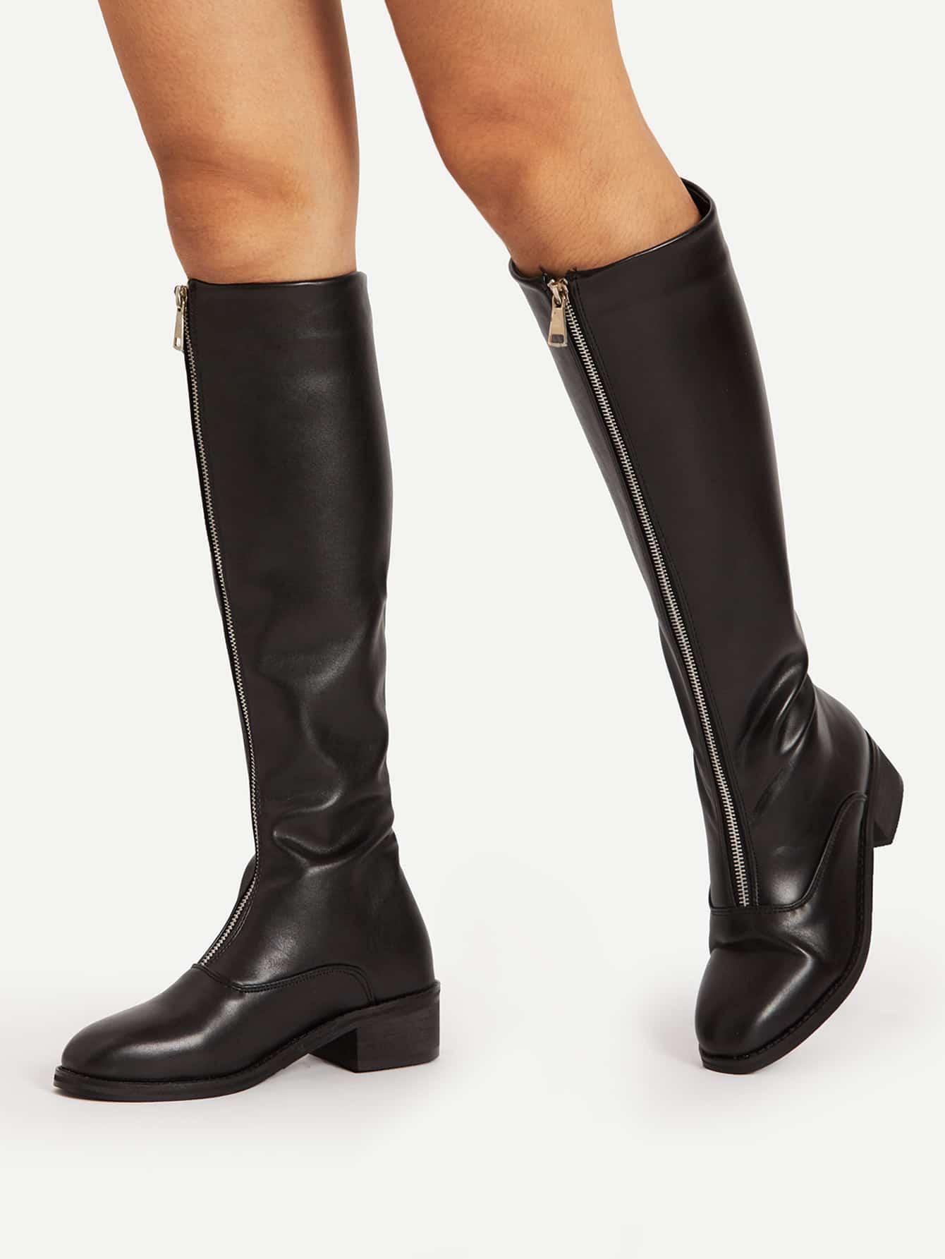 Zipper Front Knee High PU Boots