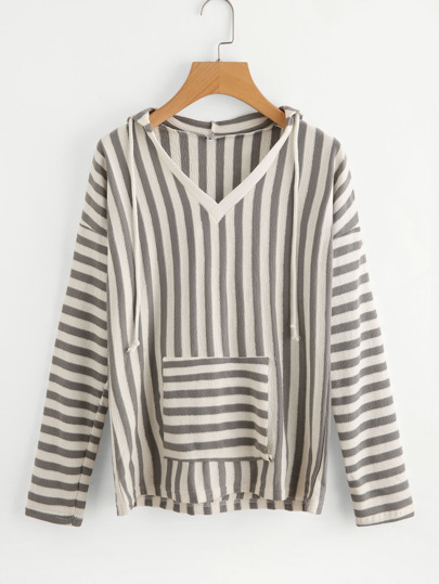 Block Stripe Pocket Front Hooded Sweatshirt