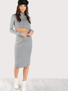 High Neck Long Sleeve Ribbed Crop & Matching Skirt GREY