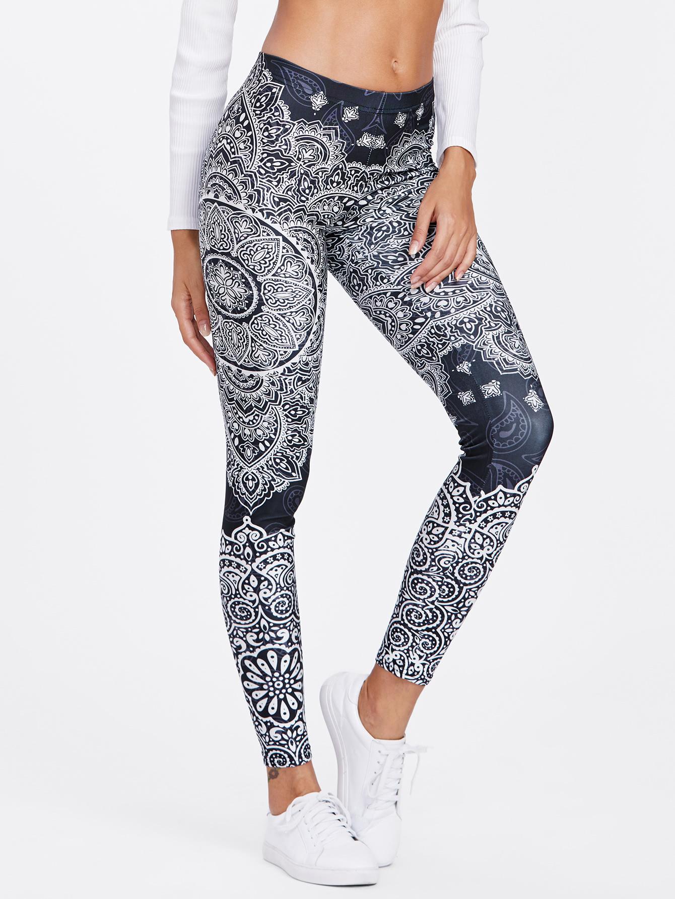 Ornate Print Leggings leggings171010302