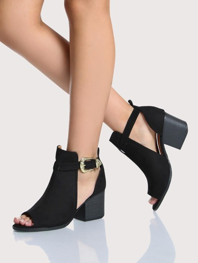 Peep Toe Side Cut Out Booties BLACK