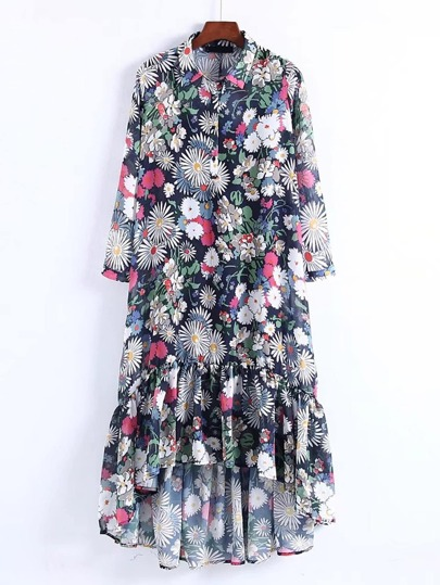 High Low Floral Dress With Liner Cami
