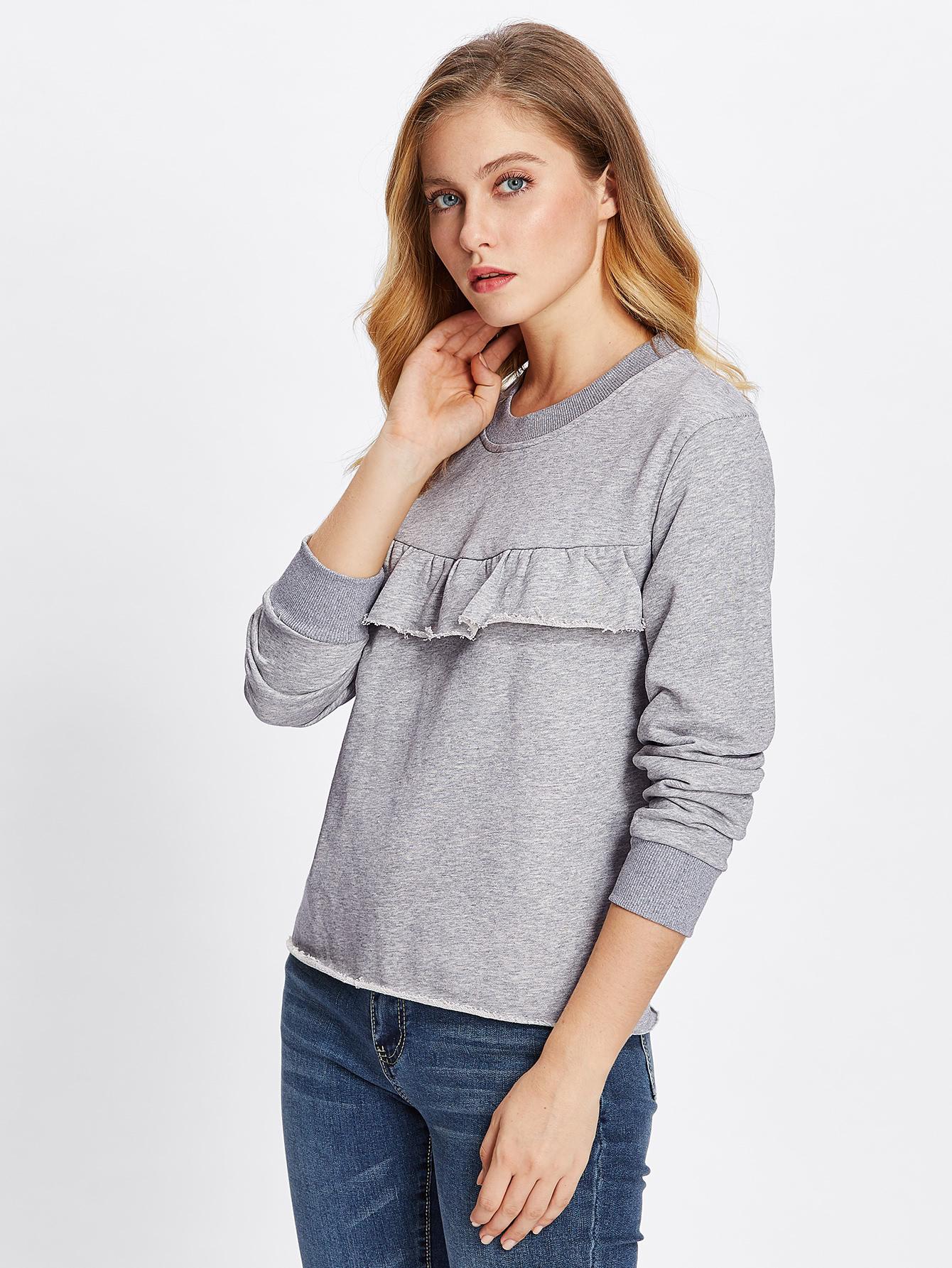 Raw Cut Hem Flounce Detail Sweatshirt faux fur cuff drop shoulder raw hem sweatshirt