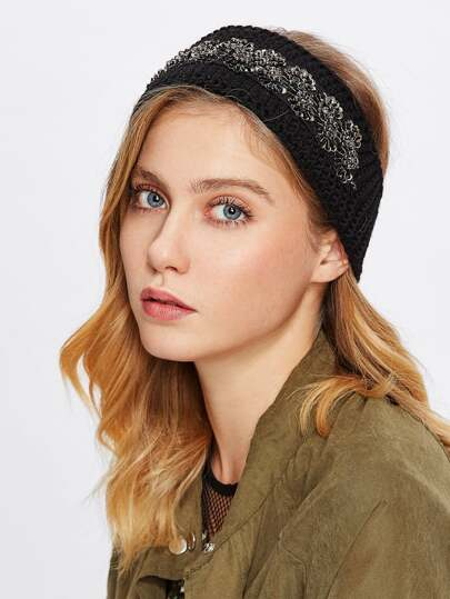Crochet Bead Detail Headband