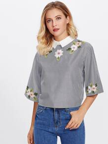 Knot Button Back Embroidery Pinstripe Blouse