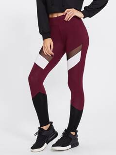 Mesh Insert Cut And Sew Leggings