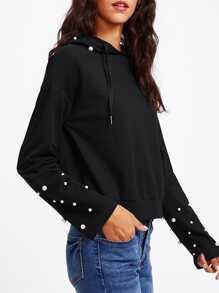 Drop Shoulder Pearl Embellished Hoodie