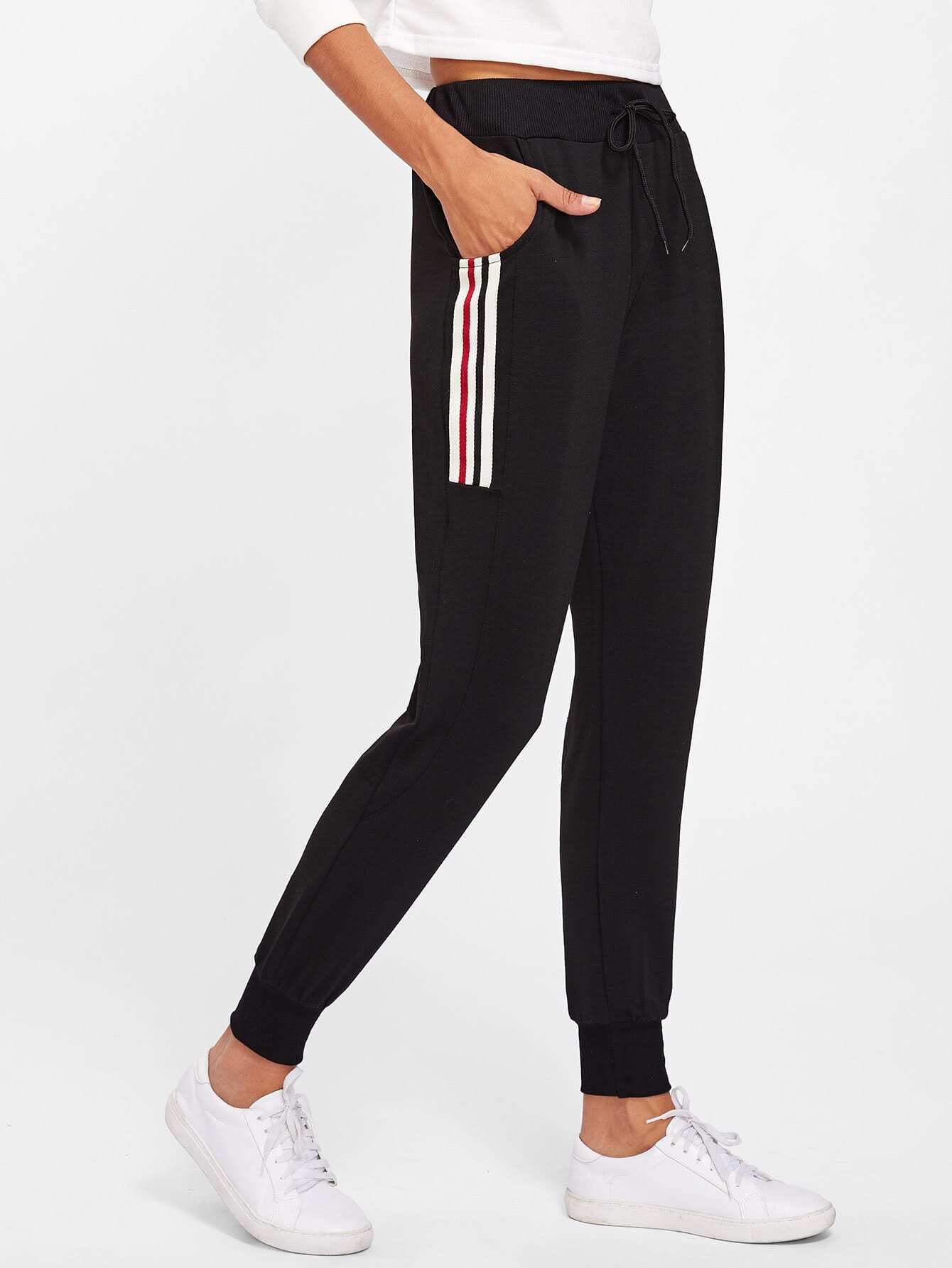 Image of Striped Side Track Pants