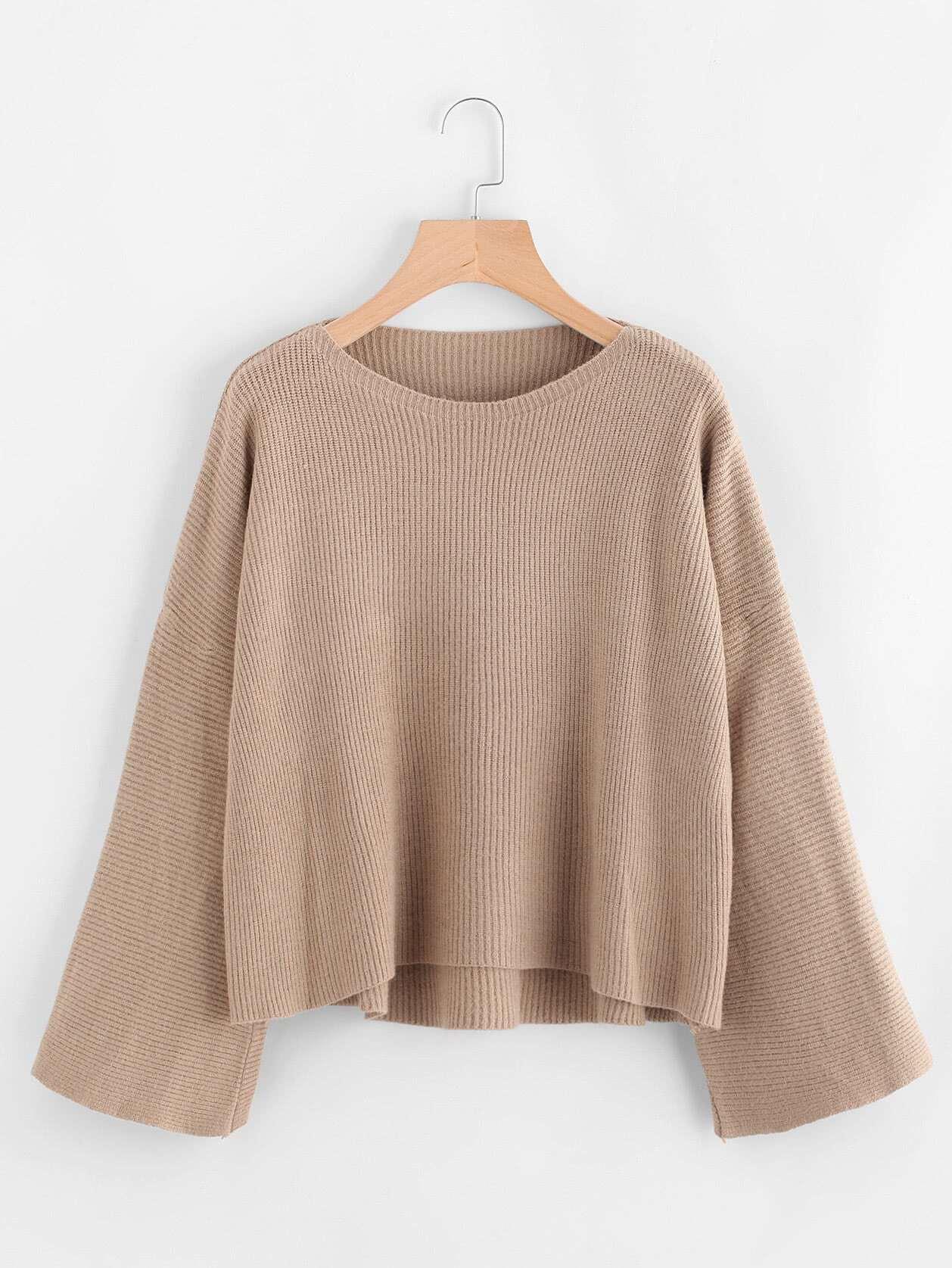Dip Hem Ribbed Knit Sweater