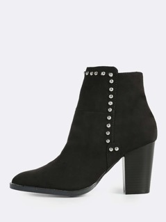 Top Studded Point Toe Booties BLACK