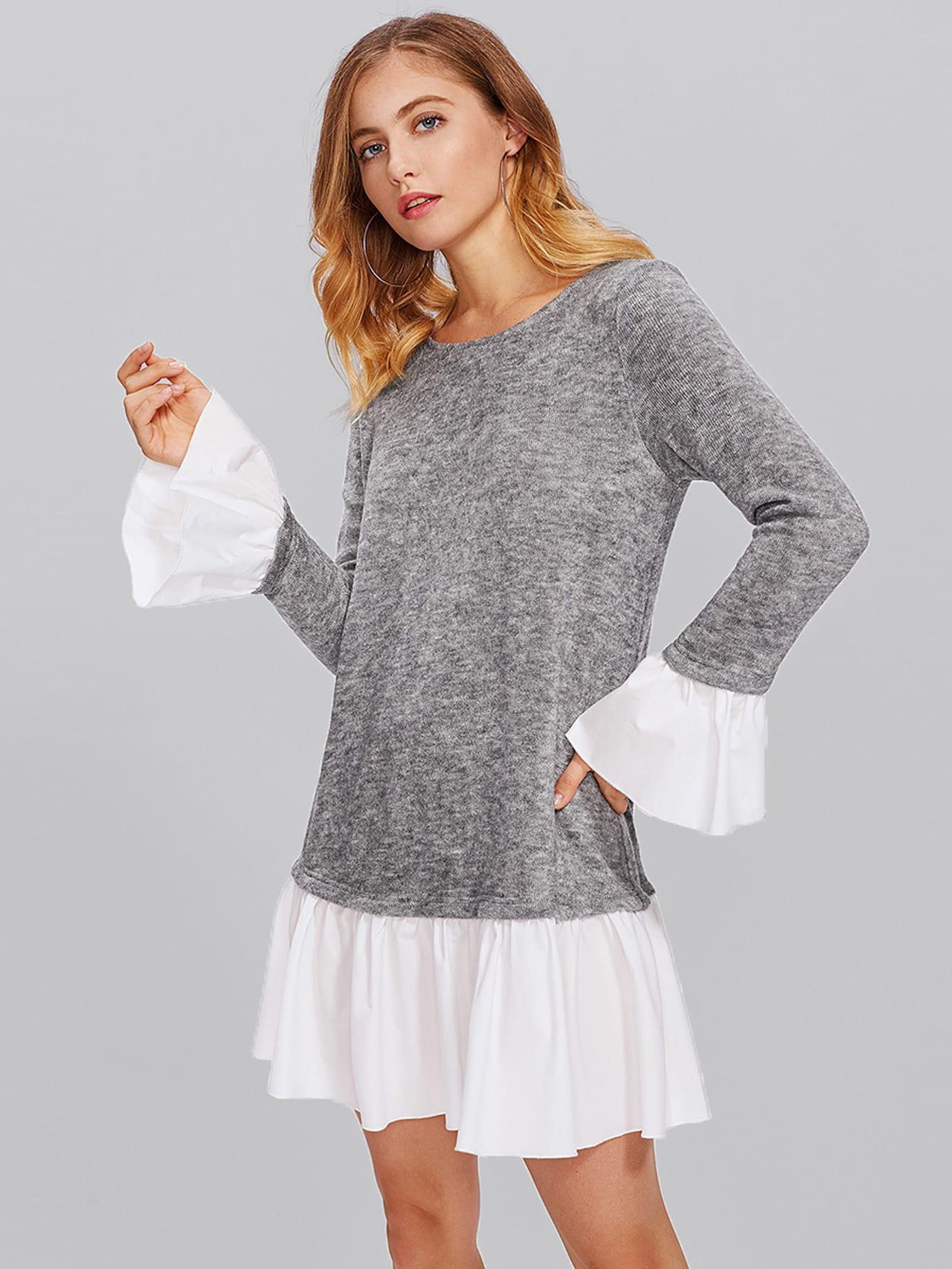 Contrast Ruffle Cuff And Hem Heather Knit Dress heather knit dolphin hem tee dress