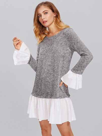 Contrast Ruffle Cuff And Hem Heather Knit Dress