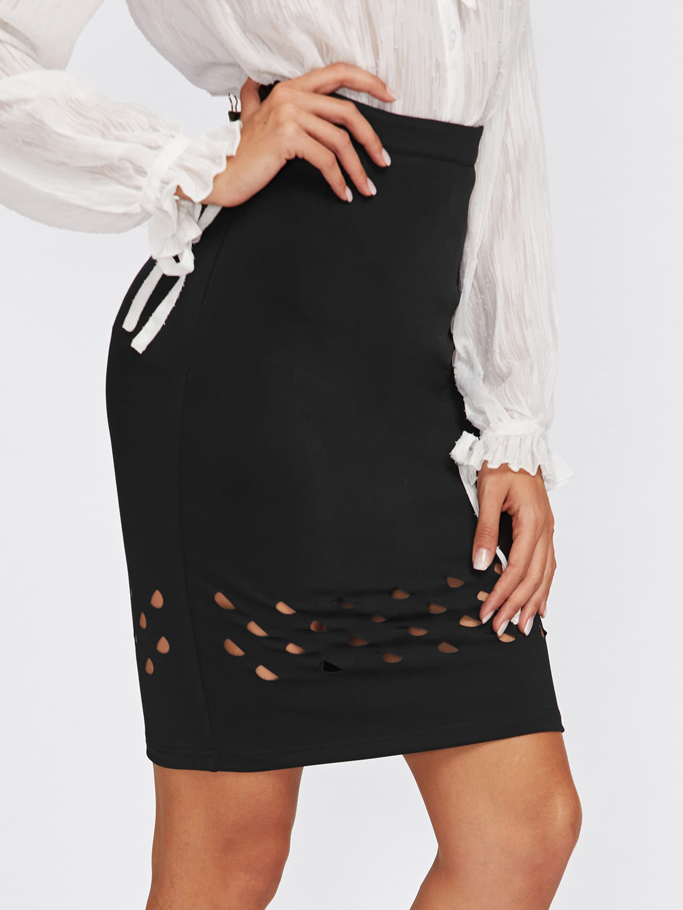 Laser Cut Insert Bodycon Skirt