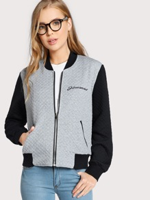 Two Tone Embroidered Textured Bomber Jacket