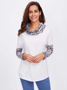 Tribal Print Cowl Neck And Sleeve T-shirt
