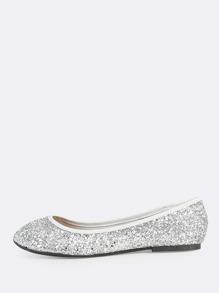 Glitter Embellished Flats SILVER