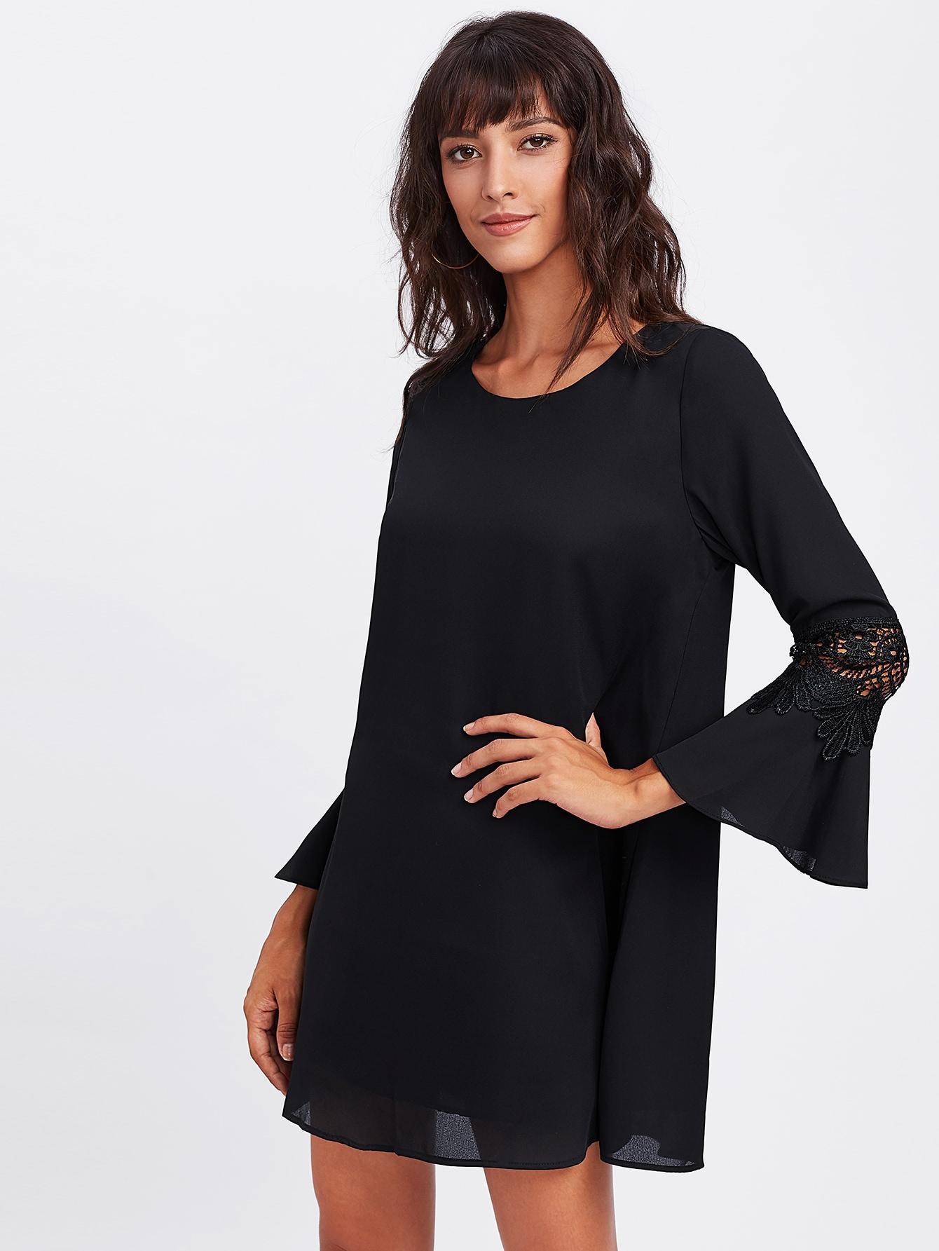 Crochet Insert Fluted Sleeve Dress v notch pearl leaf chain detail fluted sleeve dress