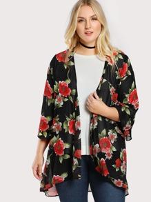 Floral Print Sheer Kimono BLACK