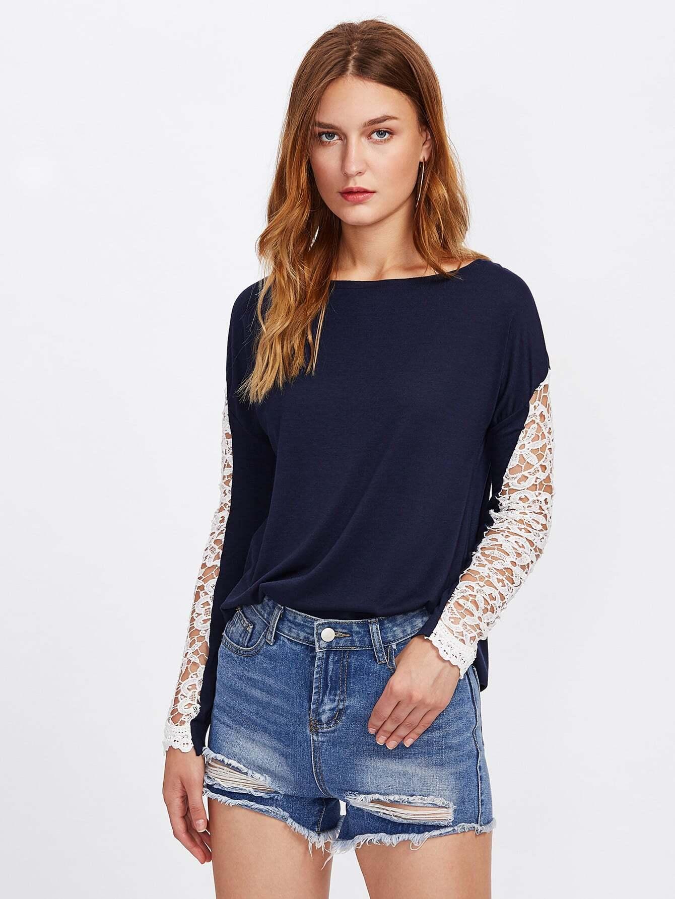 Hollow Out Crochet Insert Drop Shoulder Tee two tone drop shoulder sweatshirt