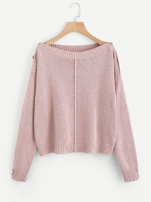 Buttoned Overlap Shoulder Sweater