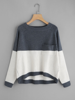 Two Tone Raglan Sleeve Dip Hem Sweater