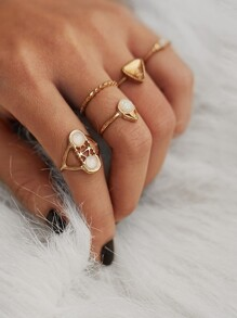 Multi Shaped Ring Set 5pcs