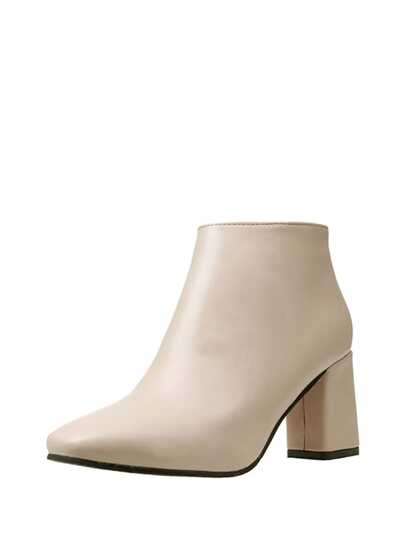 Square Toe Block Heeled PU Boots
