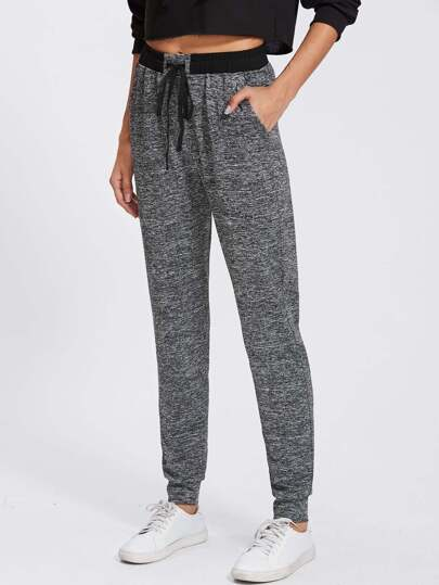Drawstring Marled Knit Sweatpants