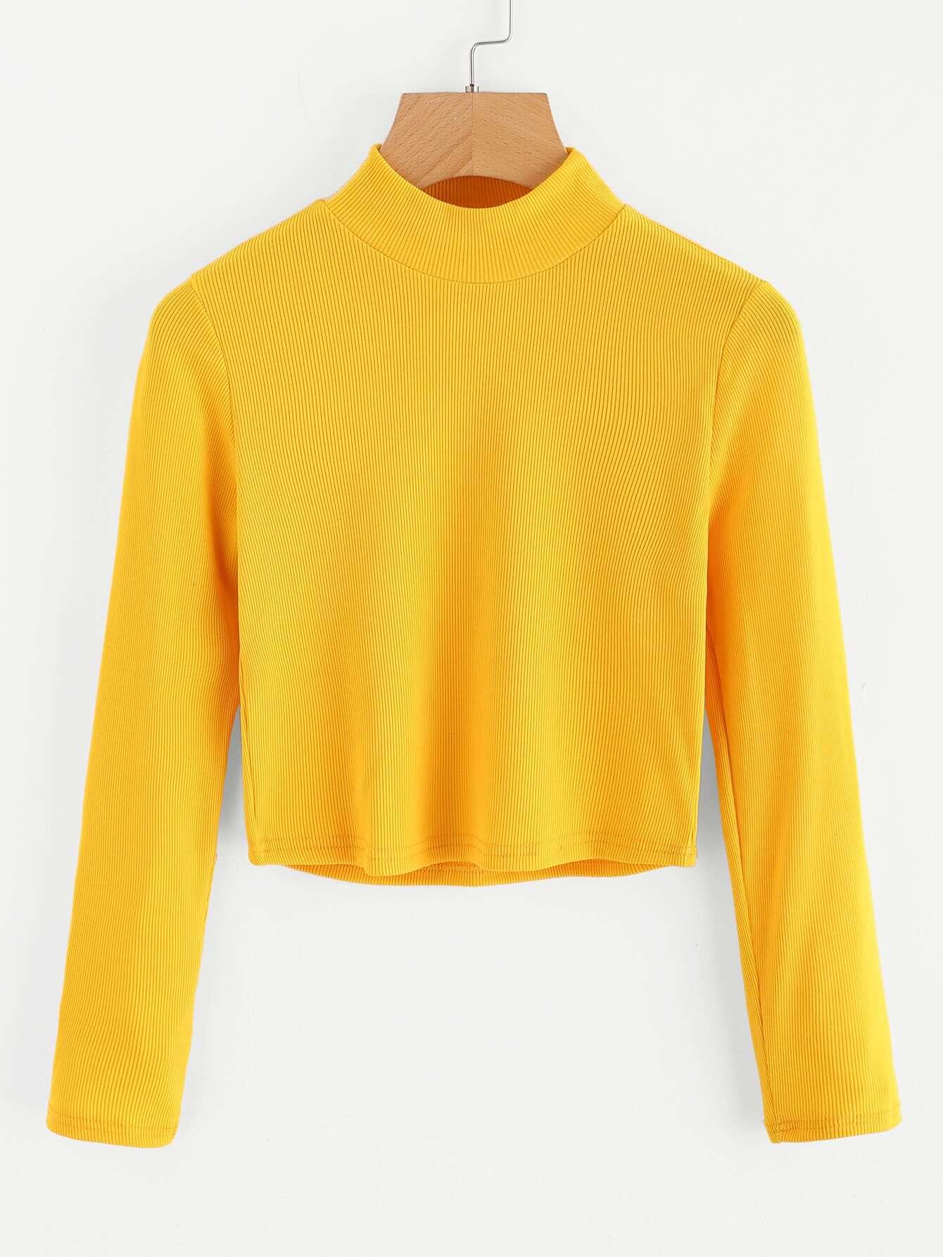 High Neck Ribbed Crop Sweater rkni171010171