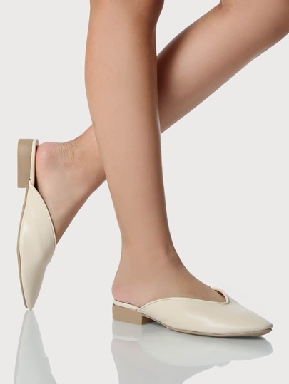 Solid Backless Loafers NUDE