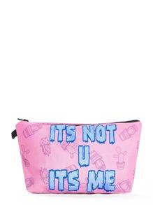 Slogan & Cactus Print Makeup Bag
