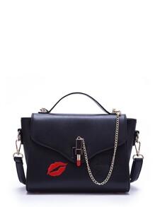 Chain Detail Print Flap Crossbody Bag