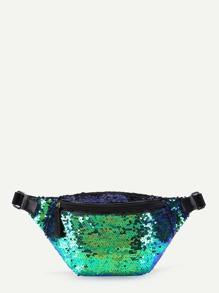 Sequin Overlay Zipper Front Bum Bag