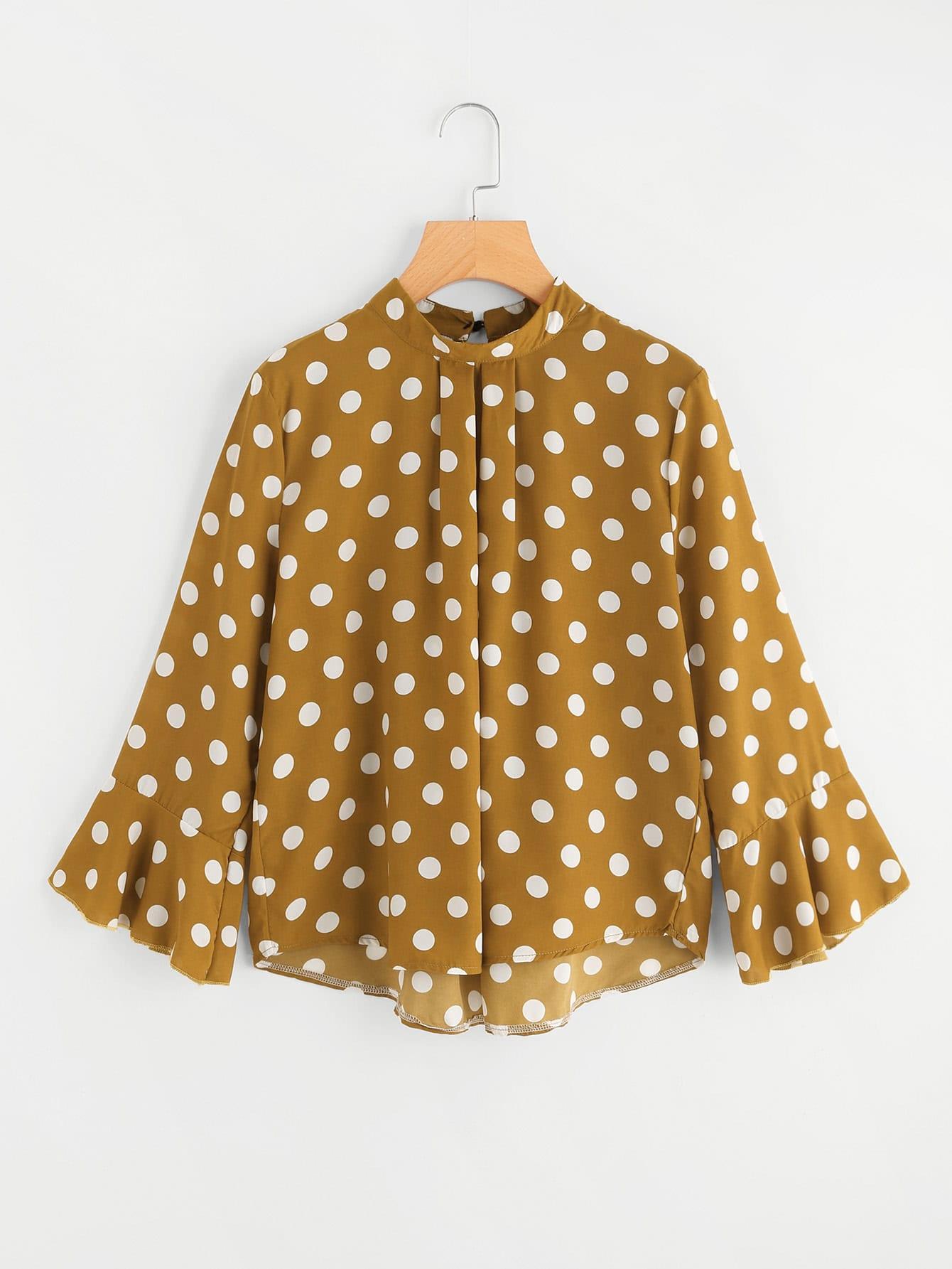 Fluted Sleeve Polka Dot Pleated Front Blouse fluted sleeve bardot blouse